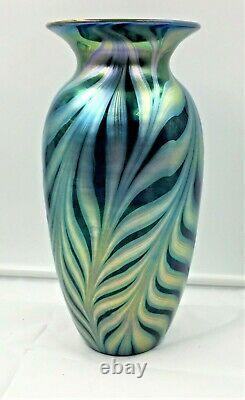 11 Tall Lundberg Studios Iridescent Art Glass Pulled Feather Vase-sgnd/dated
