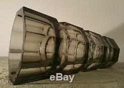 12.25 Josef Hoffmann table art sculpture moser smoked glass vase vtg mcm czech
