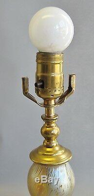16 Tall Yellow Iridized LOETZ PAPPILON Art Glass Lamp c. 1920 antique vase