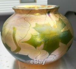 1900's L. C. Tiffany Favrile Art Glass Vase Signed & # BIG SIZE stunning colors
