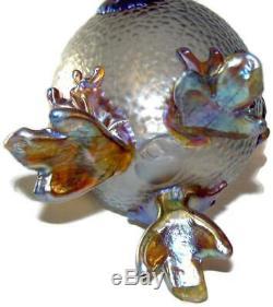 1903 Loetz Art Glass Art Nouveau Iridescent Candia Martele Nautilus Vase