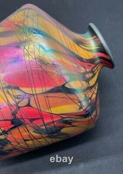 1925 Fenton Art Glass Off Hand Line Mosaic 19 CM Vase With Applied Threading