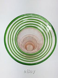 1930s Art Deco Czech Ribbed Pink Threaded Green Glass Vase Kralik Loetz Thread