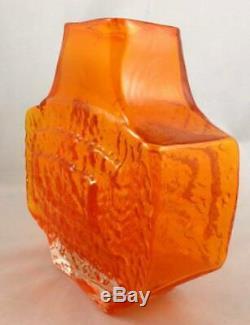 1960s Whitefriars Textured Tangerine Art Glass TV Vase 9677 Geoffrey Baxter