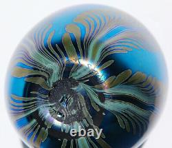 1982 John Cook Blue Iridescent Peacock Feathers Art Glass Vase Signed MINT