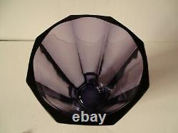 $199.99 Sale Moser Art Glass Amethyst Paneled Cut Vase Unsigned