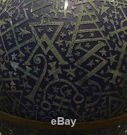 19c ART DECO ETCHED GLASS AMPHORA VASE BY DUNCAN MCCLELLAN ON STAND SIGNED