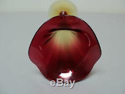 19th C. MT. WASHINGTON AMBERINA AMERICAN ART GLASS TRUMPET or LILY VASE 8
