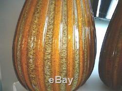 (2) Large SEGUSO Murano Art Glass Amber RIBBED Goldstone Golden VASES MUSEUM
