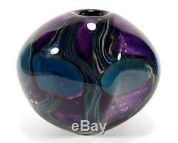 2008 Robert Eickholt Studio Art Glass Paperweighted Vase Undersea Anemones Heavy