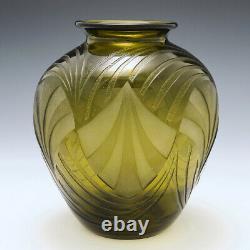 A Fine Art Deco Geometric Fan Pattern Vase By Legras c1930