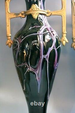 A Pair Antique Art Nouevau Jugendstil LOETZ Glass Vases CIRCA 1915
