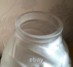 ANTIQUE c1920 Art Deco Frosted Glass French Vase MULLER FRERES LUNEVILLE France