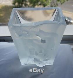 ART DECO Glass Nude Woman Vase CURT SCHLEVOGT Czech Bohemian Gablonz Clear