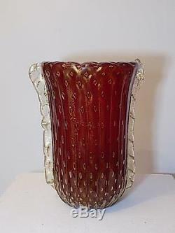 ART GLASS VINTAGE MURANO VASE BAROVIER & TOSO CORODONATO d`ORO DESIGN 20. JHD