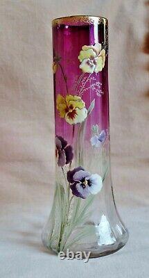 ART NOUVEAU MOSER ENAMELLED AMETHYST GLASS PANSY VASE Antique Legras Mont Joye
