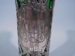 Alvin Vase G3326 Art Nouveau American Emerald Green Glass & Silver Overlay