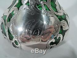 Alvin Vase G387 Art Nouveau American Emerald Green Glass & Silver Overlay