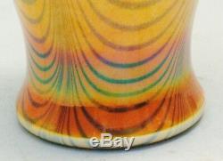 Antique 7 Imperial (American) Lustre Art Glass Vase c. 1925 Orange with Blue