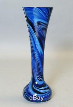 Antique American 10 Art Deco Glass Vase by Imperial c. 1925 Blue White Orange
