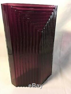 Antique Art Deco Glass Vase Vintage Art Deco Amethyst Purple Vase Mid Century