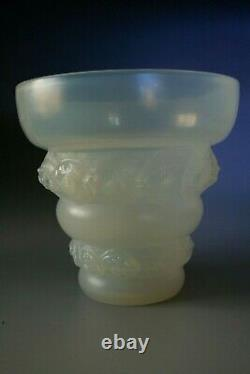 Antique Art Deco Sabino Opalescent Glass Vase Lizens Circa 1935