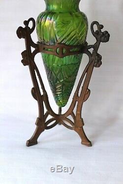 Antique Art Nouveau Loetz Kralik vase metal mounts c 1900