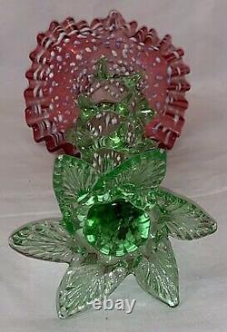 Antique Bohemian Art Nouveau glass vase, it is a blown glass of opalescent to re