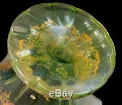 Antique Bohemian Cranberry Opalescent Vaseline HP Rococo Enamel Art Glass Vase