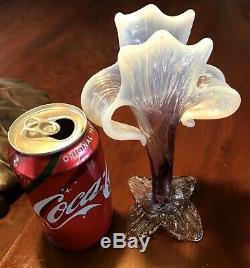 Antique Bohemian Kralik Amethyst Opalescent Art Nouveau Glass Floriform Vase