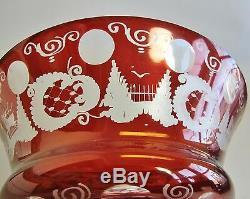 Antique Bohemian Ruby over Clear Cut Glass Center Bowl c. 1920 German Art Vase