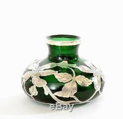Antique Emerald Green Glass Silver Overlay Vase Art Nouveau Style