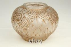 Antique French ART DECO Frosted Crystal Daisies Vase Andre Hunebelle Ovington NY