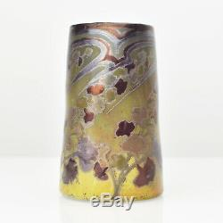 Antique French Art Nouveau Iridescent Glass Vase by Amedee de Caranza