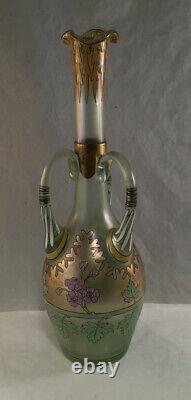 Antique Fritz Heckert Iridescent Glass Enamel Gilt Bird Cypern Vase Art Nouveau
