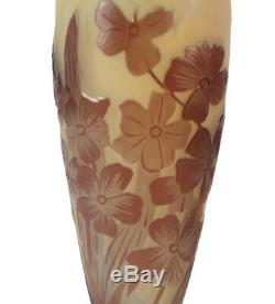 Antique Galle French Cameo Art Glass Vase Detailed Flowers Floral Motif 5 15/16