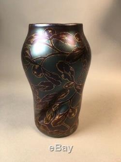 Antique LOETZ Tiffany Era Mistletoe Glass Vase Dek/117 Label Art Nouveau