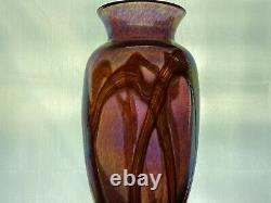 Antique Loetz Bohemian Threaded Art Glass Iridescent Free Form Amethyst Vase