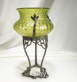 Antique Loetz Kralik Bronze Art Nouveau Iridescent Glass Vase 57817