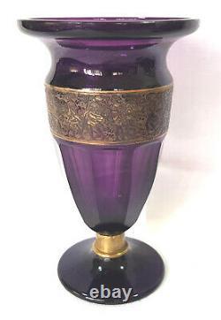 Antique MOSER Amethyst Faceted Warrior Frieze Scene Vase Art Glass Czech 7½Tall