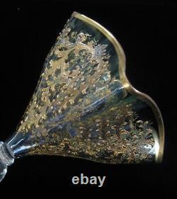 Antique Moser Art Glass Gilt Enamel Vase
