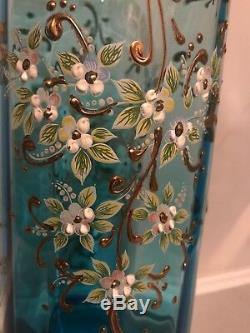 Antique Moser, Harrach Bohemian Art Glass Heavy Gold Enameled Flowers Vase 11 H
