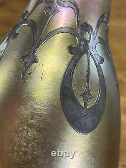 Antique Quezal Signed Iridescent Art Glass Vase with Sterling Silver Overlay 9