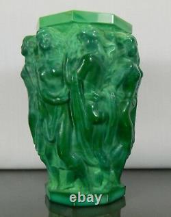 Antique Rare Schelvogt Art Deco Malachite Glass Vase Olympia Czech Republic