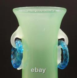 Antique STEUBEN Art Glass VASE Jade, Alabaster and Blue Rings 12.75 Tall c. 1925