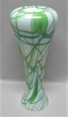 Antique Unique IMPERIAL ART NOUVEAU Glass Vase Green Hearts & Vine c. 1920