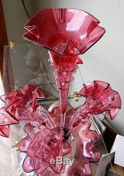 Antique Victorian Cranberry Epergne Art Glass Central Flute Tulip Vase 7 Flutes