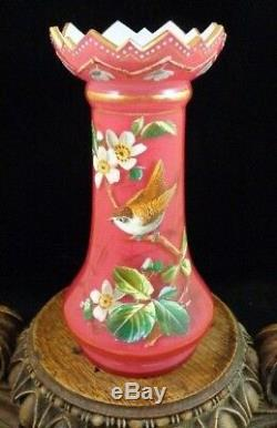 Antique Victorian Harrach Bohemian Cased Hand Painted Enamel Bird Art Glass Vase