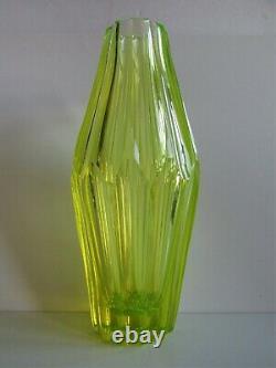 Antique/Vintage Czech/Bohemian ART DECO URANIUM Cut Glass VASE 1930s 11.2 tall