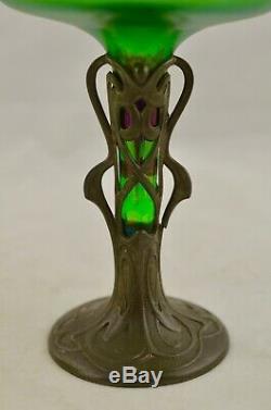 Antique c. 1905 Jugendstil Art Nouveau Loetz iridescent glass vase with Pewter base